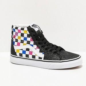 Vans Sk8 Hi Glitter Checkerboard Black White 9.5